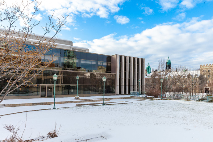 Jackman Law Building, back lawn, winter