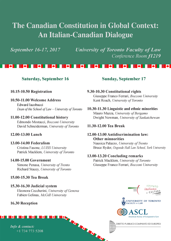 The Canadian Constitution in Global Context: An Italian-Canadian Dialogue