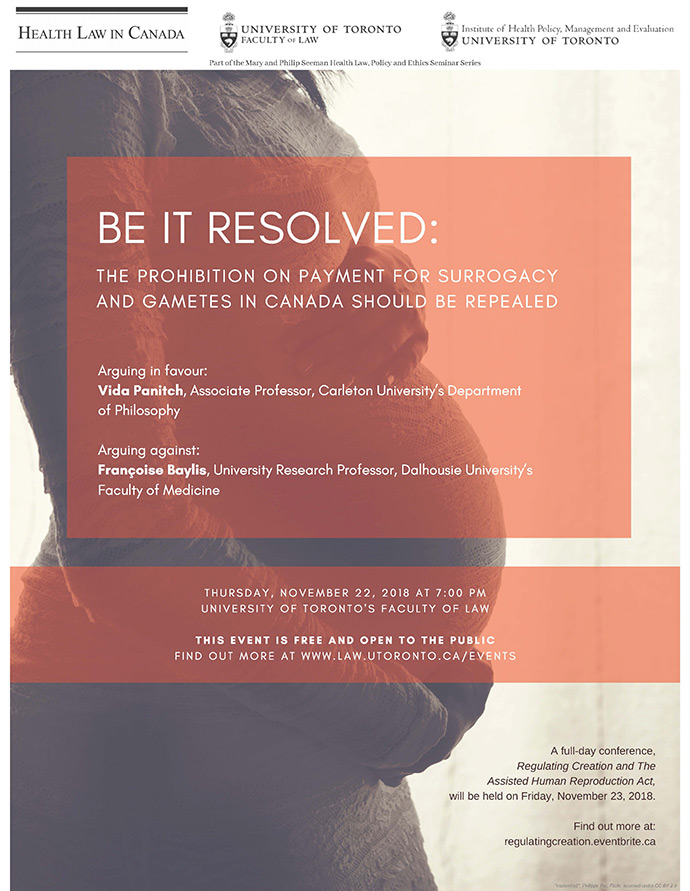 "Debate: Be it resolved: ""The prohibition on payment for surrogacy and gametes in Canada should be repealed."""