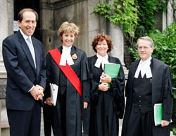Acting Dean Brian Langille with Justices Lax, Arbour and Sharpe