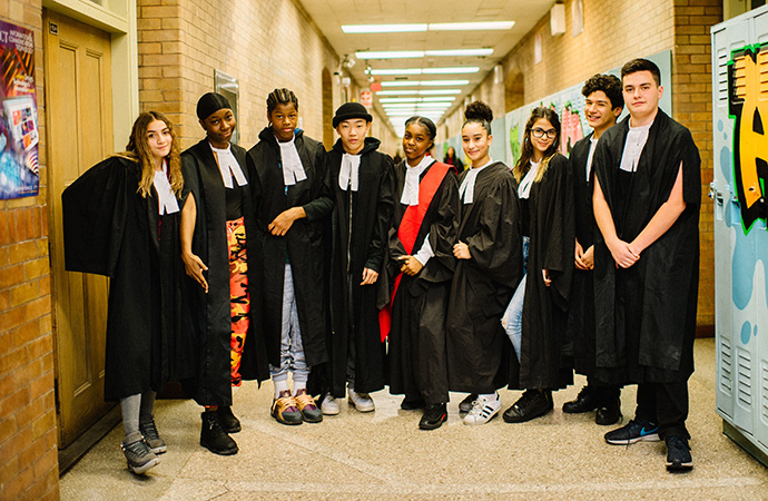 LAWS students in legal robes