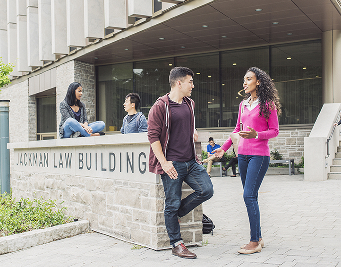 Students in front of Jackman Law Building