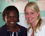 The Director of the Girl Child Network, Betty Makoni (left), with Tara Doolan