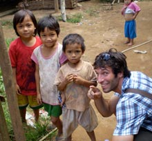 Ben Kates with children at the Mae Lai refugee camp