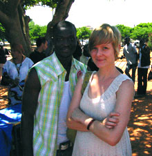 Kate Oja with refugee