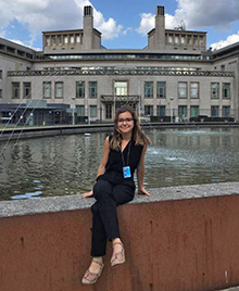 Teodora Pasca in front of the International Residual Mechanism for Criminal Tribunals. Credit: Rebecca Dickey.