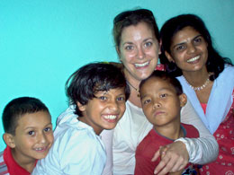 Candace Telfer at the Women's Foundation of Nepal shelter.