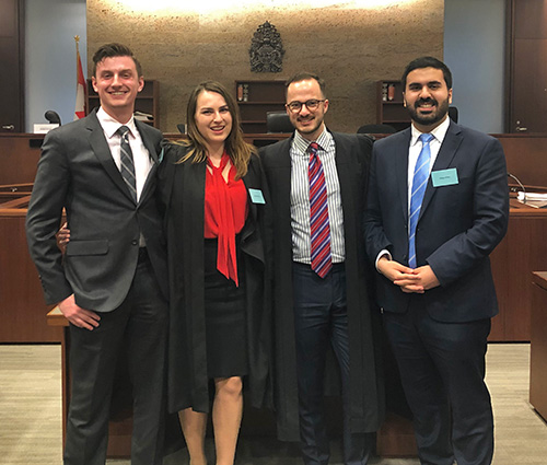 The 2019 Davies Moot team: Tom Feore, Daryna Kutsyna, Tom Collins, and Hesam Wafaei