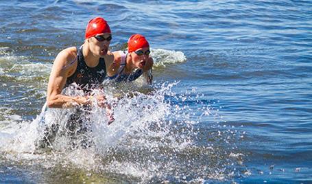 Aidan Katz competing in triathlon