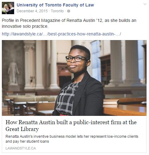 Profile in Precedent magazine of Renatta Austin '12