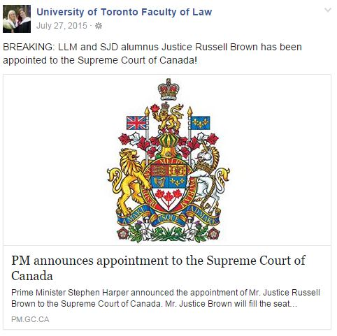 Alumnus Russell Brown appointed to the Supreme Court of Canada