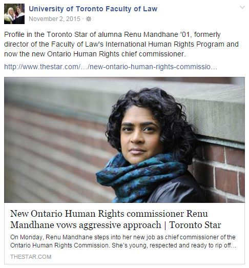 Renu Mandhane the new Ontario Human Rights chief commissioner