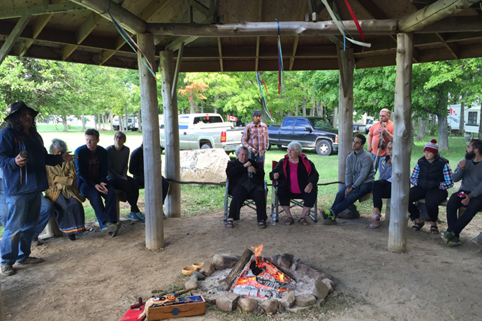 U of T Law students around sacred fire at Cape Croker
