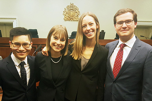 U of T law students Lilly Gates, Adrian Ling, Keely Kinley and William Rooney at the Ontario Court of Appeal (Osgoode Hall)