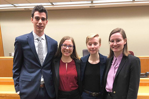U of T law students Ryan Dorsman-Zehr, Katelyn Johnstone, Hannah Goddard-Rebstein and Lauren Scott