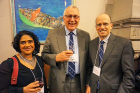 (From left) International Human Rights Program director Renu Mandhane with ICC deputy prosecutor James Stewart and law dean Ed Iacobucci