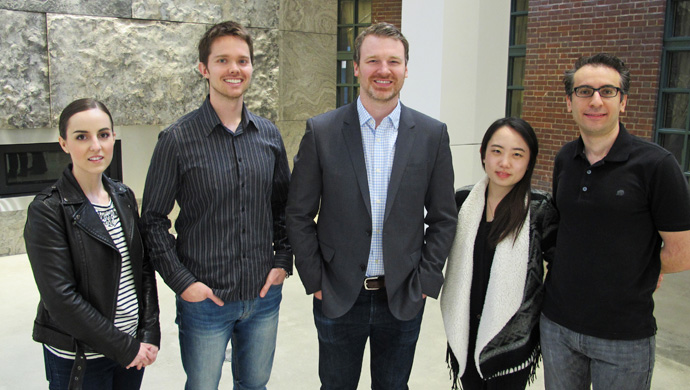 (left) Kerry Andrusiak, Damian Rolfe, adjunct professor and alumnus Max Morgan, Jenny Yunjeong Lee and Ahmed Eldessouki