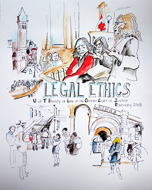 Experiential learning @UTLaw: Prof. Emon's legal ethics course visited the specialized courts at Old City Hall, and artist Tanya Murdoch captured the day in this sketch.