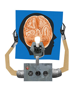 Illustration - robot holding map of human brain
