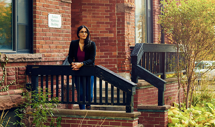 Assessing fairness at the touch of a button:  law student Sukhmani Virdi uses Employment Foresight at Downtown Legal Services.