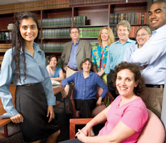 Foreground from left to right: Linda Naidoo, Nadine Harris. Background from left to right: Laura Denison, Larry Fox, Frederika (Freddie) Rotter, Becky Thorson, John Turchin, Laura Nemchin and Justin Jacob (student).