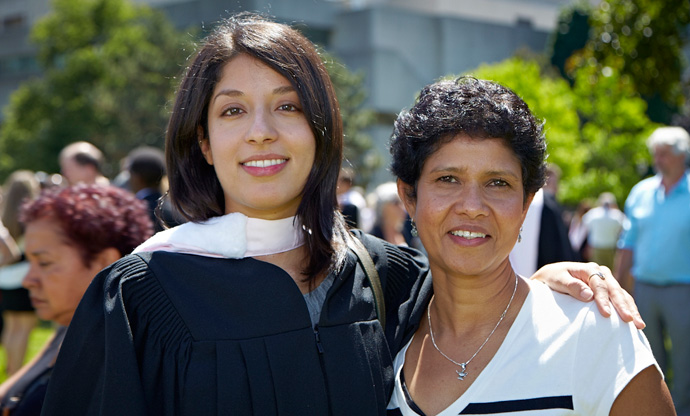 Persia Etemadi (pictured with her mother) is the first JD/MSW to win the Dean's Key