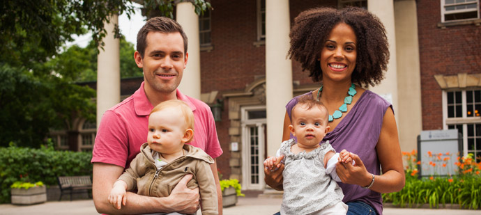 Matthew Mundy, JD 2012, with Benjamin, and Brianne Bovell, JD 2012, with Sophia