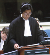 Kerry Sun at the mock trial at the ICTY