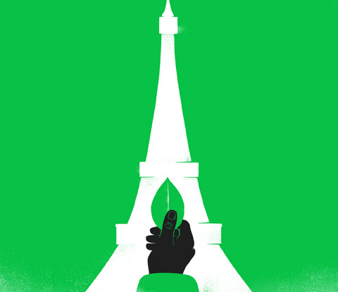 Illustration of Paris' Eiffel Tower on green background with hand holding a green leaf inside tower