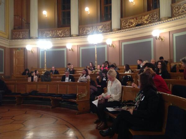 conference attendees sitting in University of Oslo lecture hall