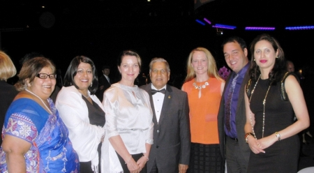 Group shot, from left: Mrs. Lodha, Sangita Bhalla, Karin Collins, Dr. Lodha, UTLaw's Chantelle Courtney, Robert Tetrault