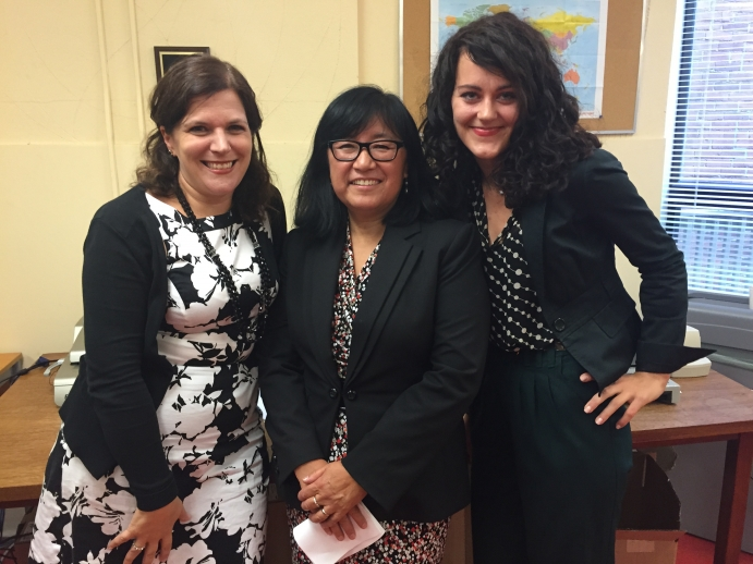 Lisa Cirillo, clinic executive director, with Vicki Moretti, Vice President, GTA Region, Legal Aid Ontario and Petra Molnar Diop, 3L student