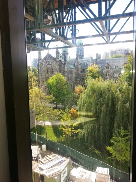 View from library second floor to Trinity College