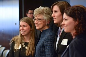 Chief Justice Beverly McLachlin in a group shot with students