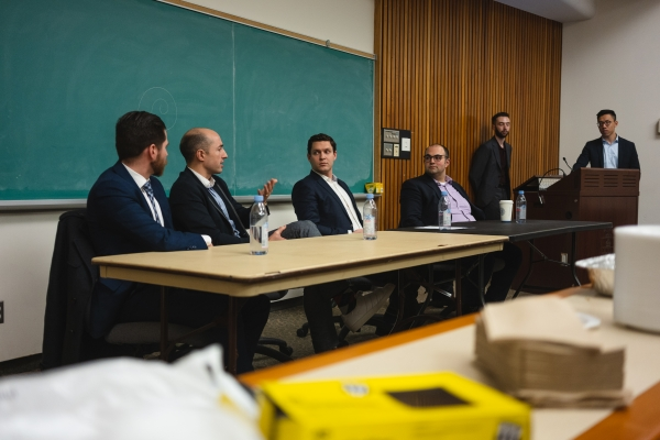 Panelists from left to right: Russell Hall, Samuel Carsley, Jonathan Sherman, Mark Cavdar