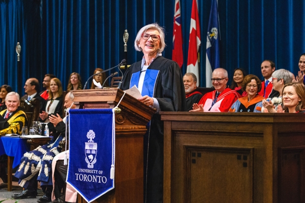 Right Honourable Beverley McLachlin at the speaker podium in Convocation Hall