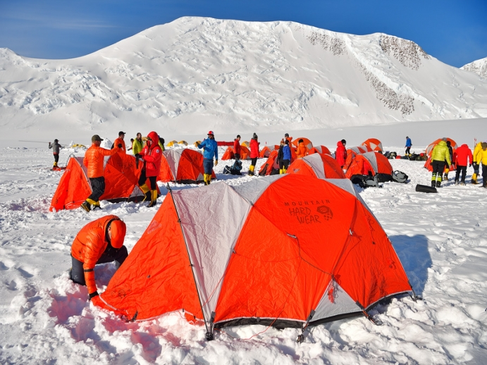 Setting up tents in Antarctica