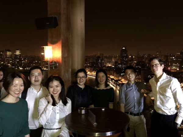 Law student D'Arcy White in a group shot with law colleagues in Shanghai