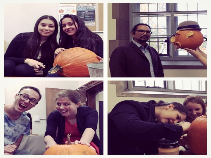 Law students carving their pumpkins