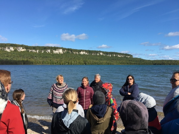 students and faculty by Georgian Bay at Cape Croker reserve Indigenous Law intensive course