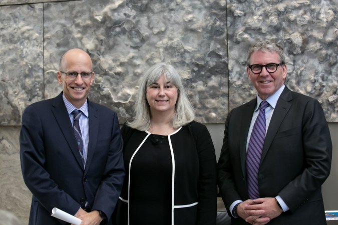 Dean Ed Iacobucci with Cheryl Milne and David Asper