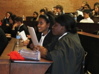LAWS students in the midst of a mock trial at the University of Toronto Faculty of Law