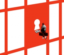 illustration of migrant trying to enter a jail door keyhole