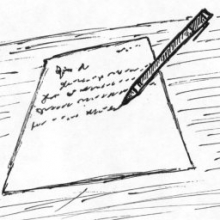 image of writing a letter with paper and pen