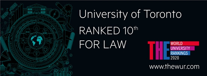 Times Higher Education banner: University of Toronto ranked 10th for Law