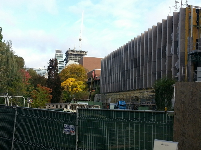 View of Jackman Law Building from south end of Philosopher's Walk