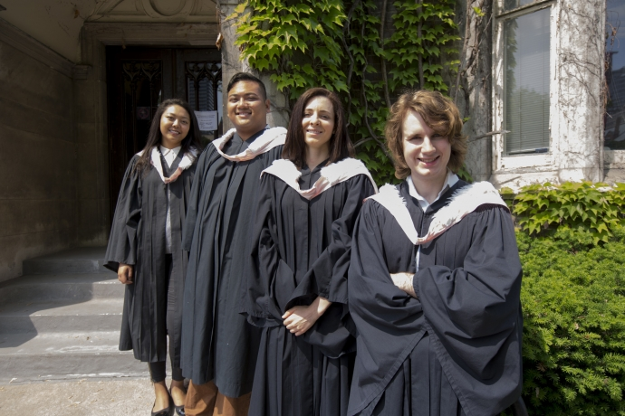 Group of law students with gowns and hoods