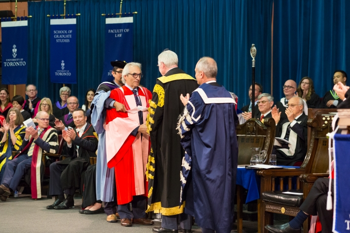 Phil Fontaine is hooded and accepts his honorary degree