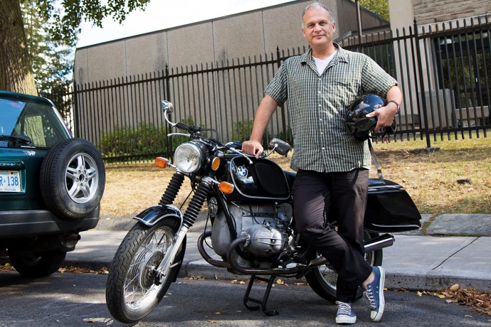 Prof. Markus Dubber with his motorcycle