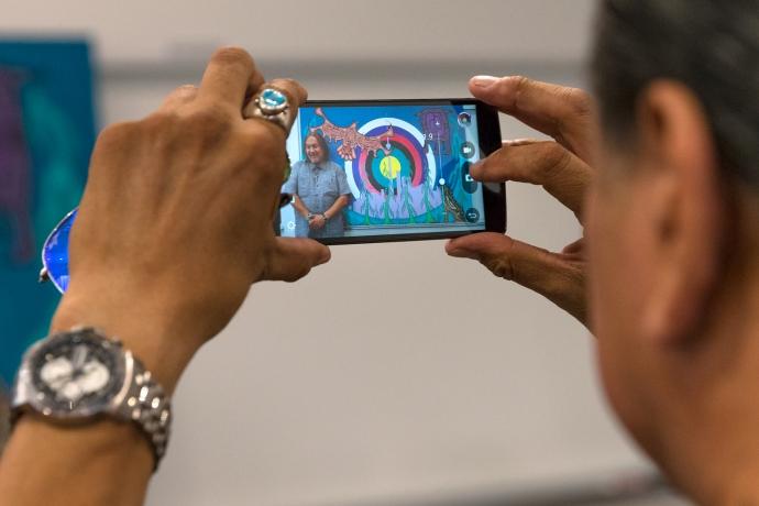 artwork seen through a mobile camera